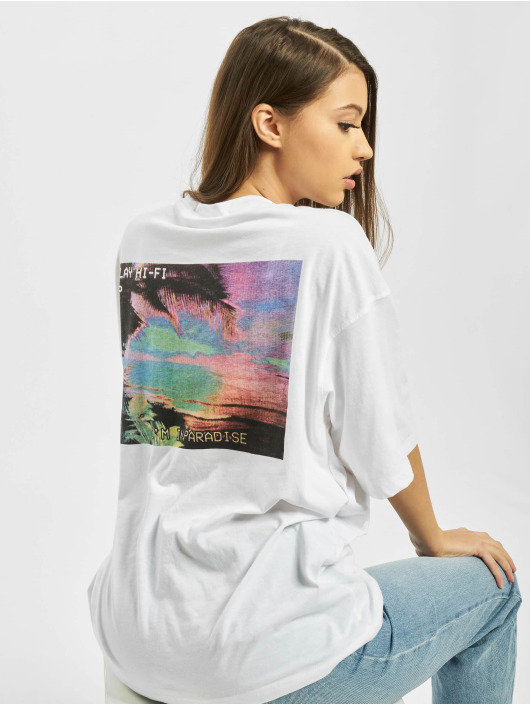 Missguided Camiseta Co Ord Play Back Print Oversized DS blanco