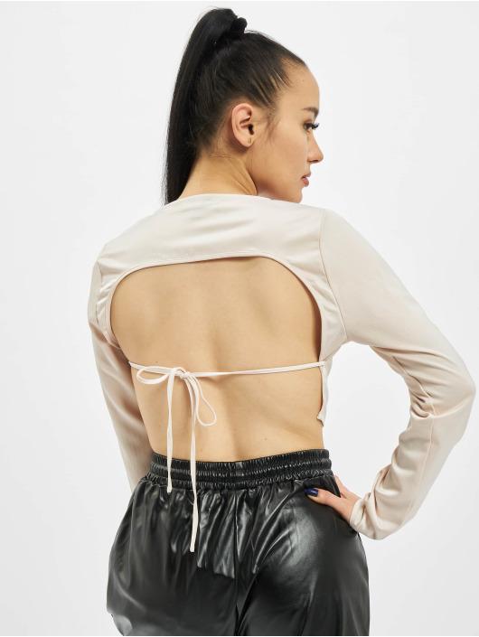 Missguided Camiseta de manga larga Open Back Crop beis
