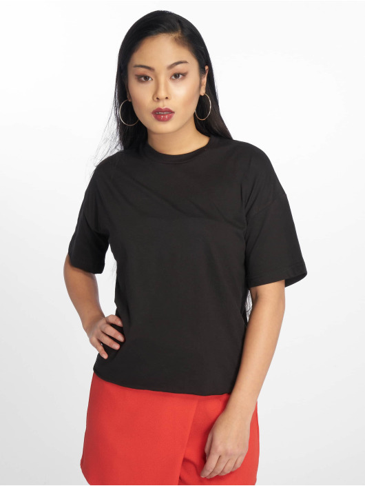 Missguided Camiseta Raw Hem Crew Neck negro