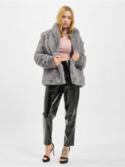 Missguided Cappotto Shawl Collar Faux Fur grigio