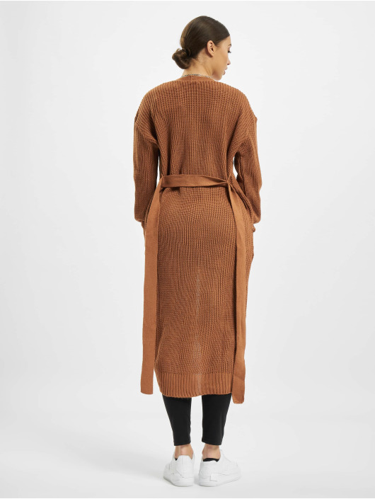 Missguided Cardigan Belted Maxi brown