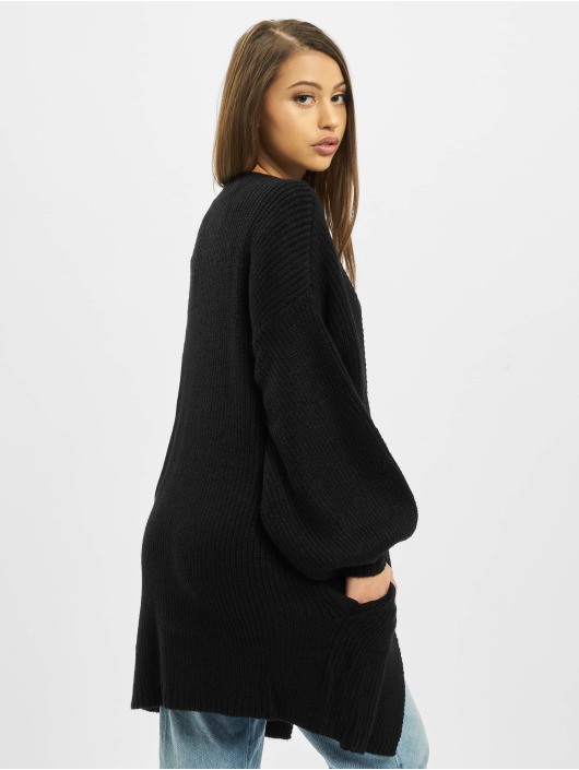 Missguided Cardigans Ribbed Balloon Sleeve Oversized čern
