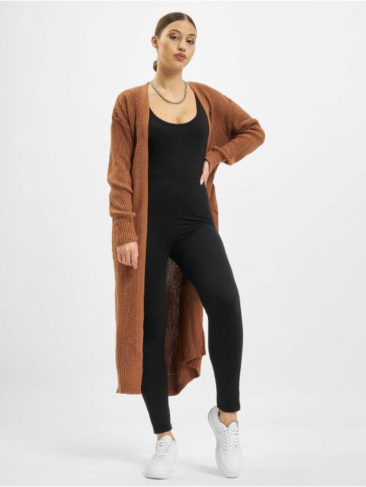 Missguided Cardigans Belted Maxi hnědý