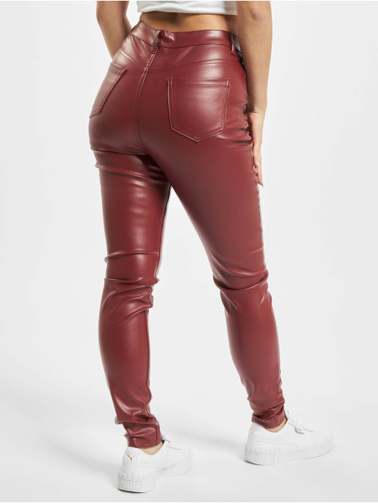 Missguided Cargo Nohavice Faux Leather èervená