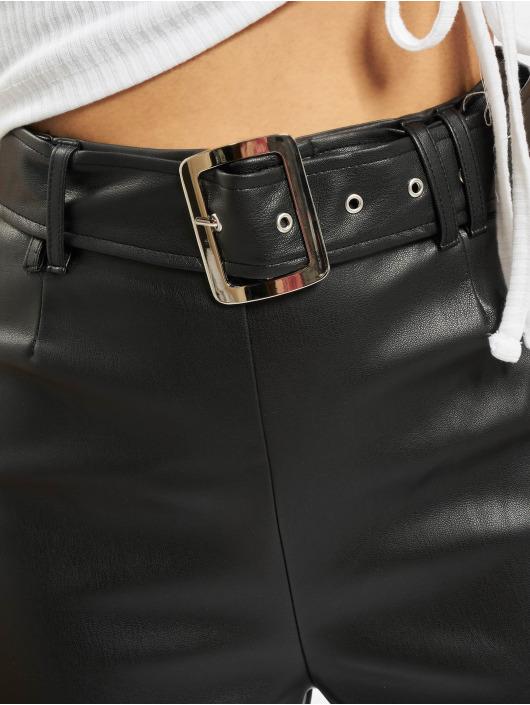 Missguided Cargo Nohavice Premium Faux Leather Buckle Cigarette èierna