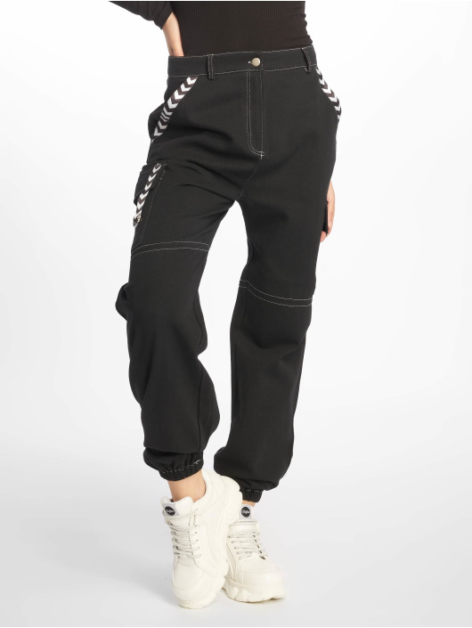 Missguided Cargo pants Mono Sports Tape Cargo čern
