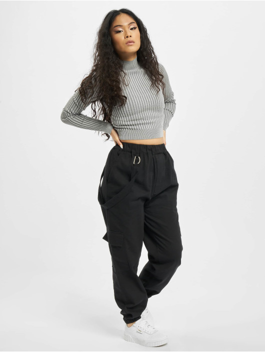 Missguided Cargo pants Petited Ring Strap čern
