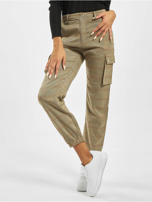 Missguided Cargo pants Petite Check Cargo hnědý