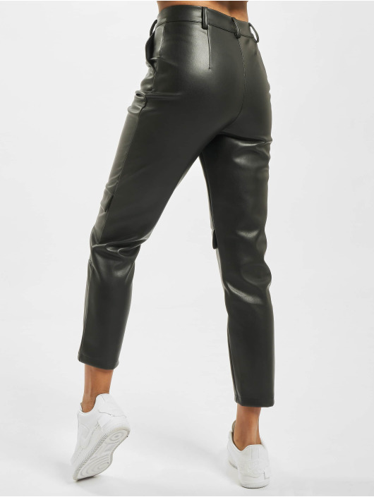 Missguided Cargobroek Faux Leather Cigarette zwart