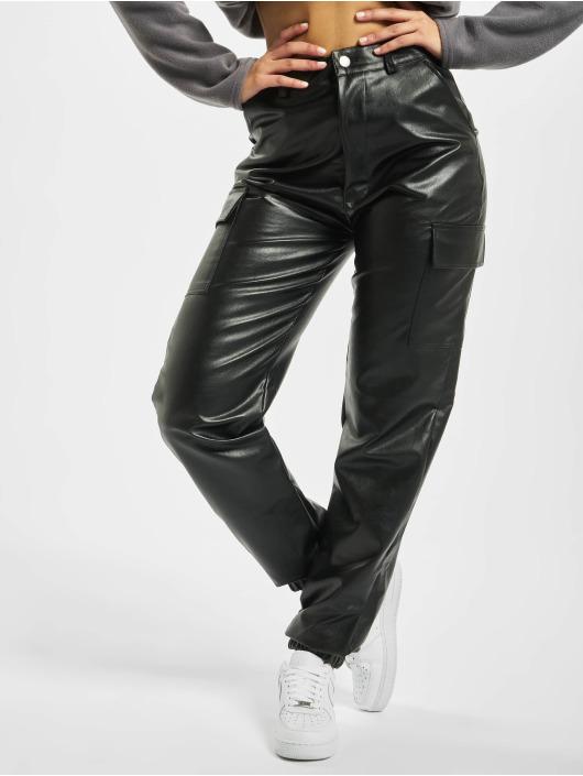 Missguided Cargohose Faux Leather schwarz