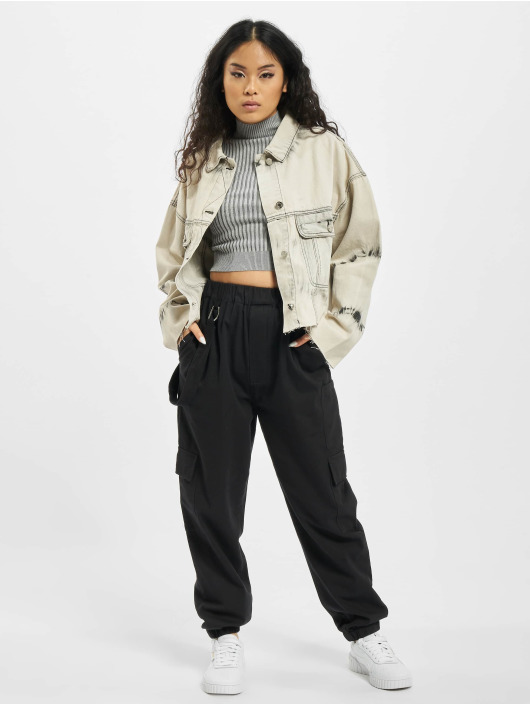 Missguided Chaqueta Vaquera Tie Dye Pleat Back Co Ord beis
