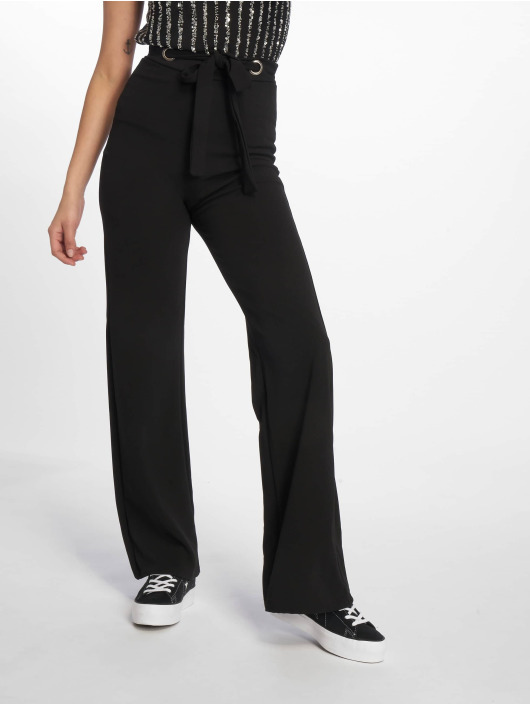 Missguided Chino Stretch Crepe Tab Button Detail Wide Leg black