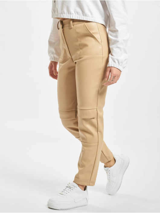 Missguided Chino bukser Faux Leather Cigarette beige