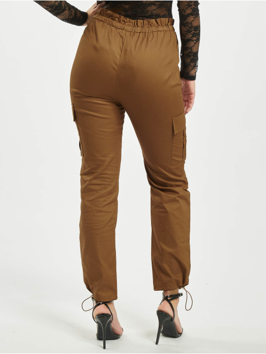 Missguided Chino bukser Oversized Twill Paperbag Cargo brun