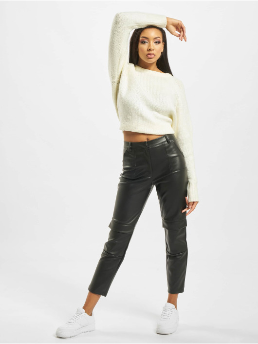 Missguided Chino bukser Faux Leather Cigarette svart