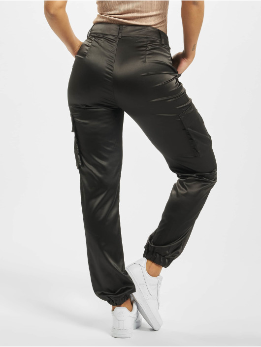 Missguided Chino bukser Satin Cargo svart