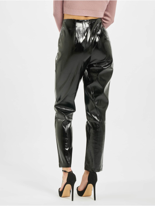 Missguided Chino pants Faux Leather High Shine Zip black