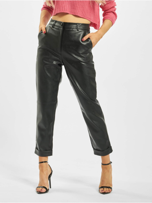 Missguided Chino pants Petite Faux Leather Hem Cigarette black