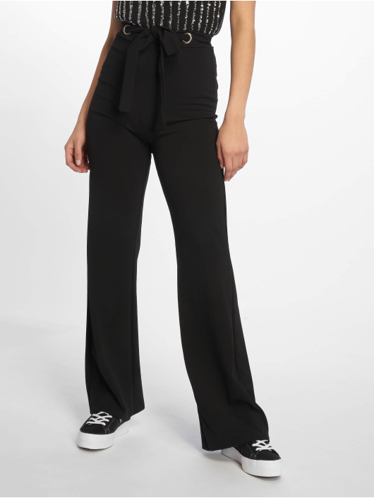 Missguided Chino Stretch Crepe Tab Button Detail Wide Leg zwart