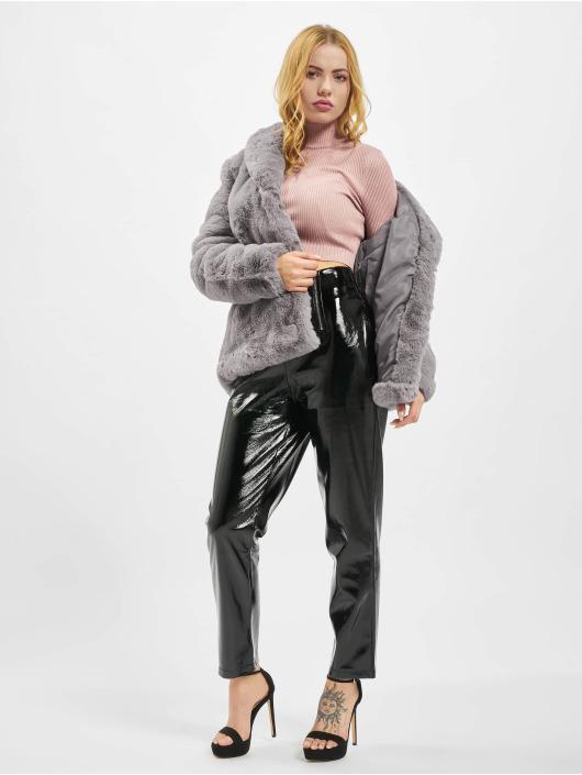 Missguided Chinot/Kangashousut Faux Leather High Shine Zip musta