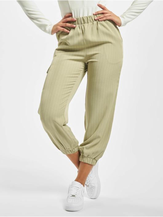 Missguided Chinot/Kangashousut Petite Pin Stripe Green Coord vihreä