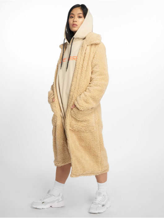 Missguided Coats Longline Borg Throw On beige