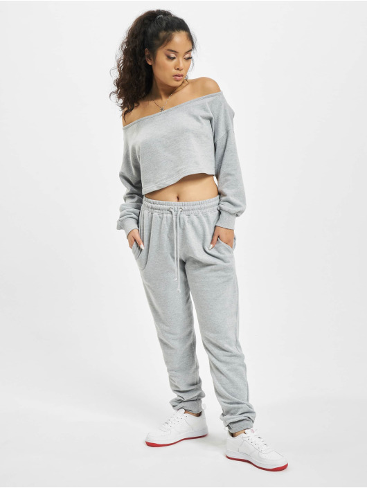Missguided Collegepuvut Coord Off The Shoulder harmaa