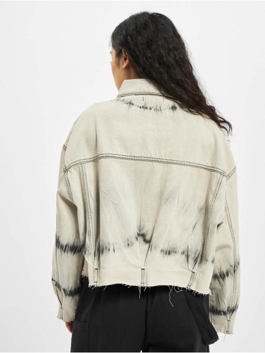Missguided Denim Jacket Tie Dye Pleat Back Co Ord beige