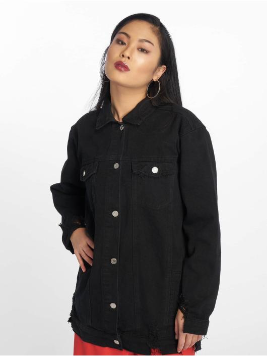 Missguided Denim Jacket Longline Distressed black