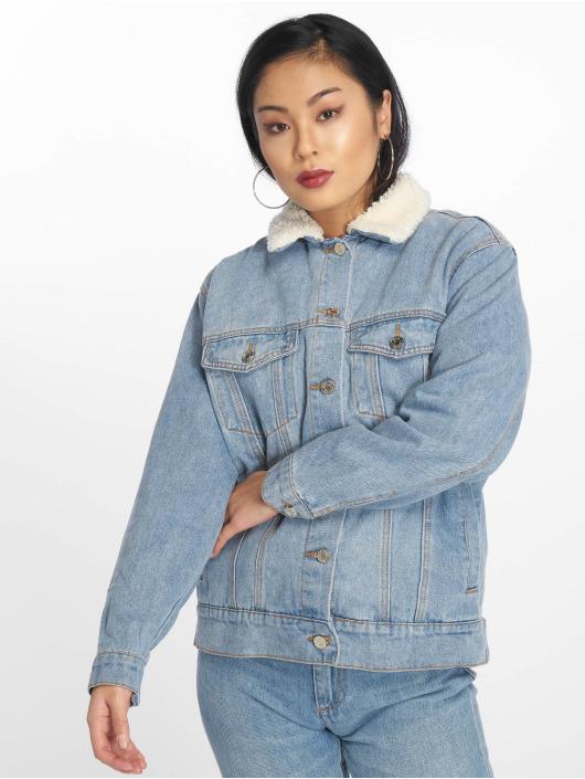 Missguided Denim Jacket Oversized Teddy Faux Fur blue