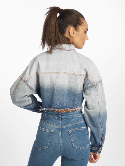 Missguided Denim Jacket Ombre Wash Cropped Denim blue