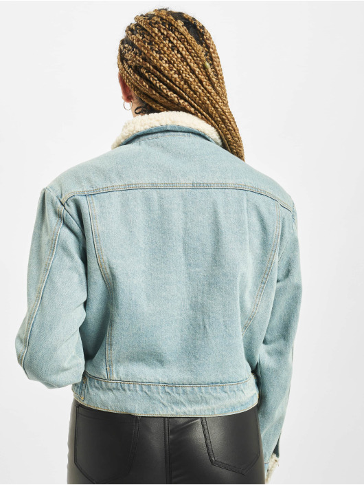 Missguided Denim Jacket Jean Grazer Borg Line blue