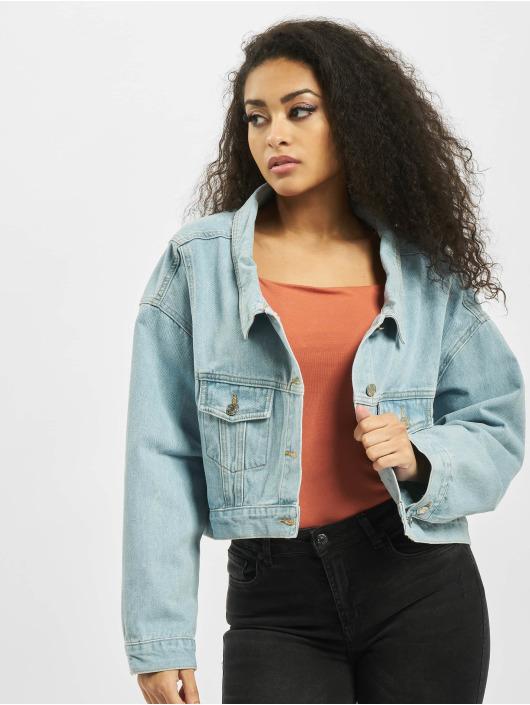 Missguided Denim Jacket Drop Hem Oversized blue
