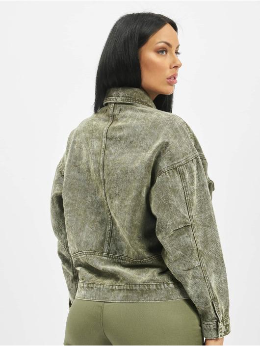 Missguided Denim Jacket 80s Batwing Oversized Denim khaki