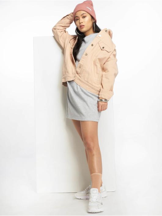 Missguided Denim Jacket Oversized Teddy Faux rose