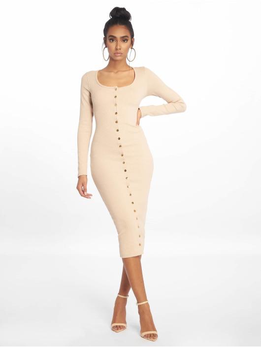 Missguided Dress Rib Ls Popper Midi beige