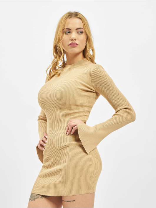 Missguided Dress Crew Neck Ribbed beige