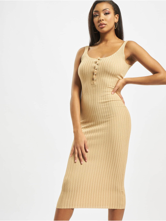 Missguided Dress Popper Ribbed Knitted beige