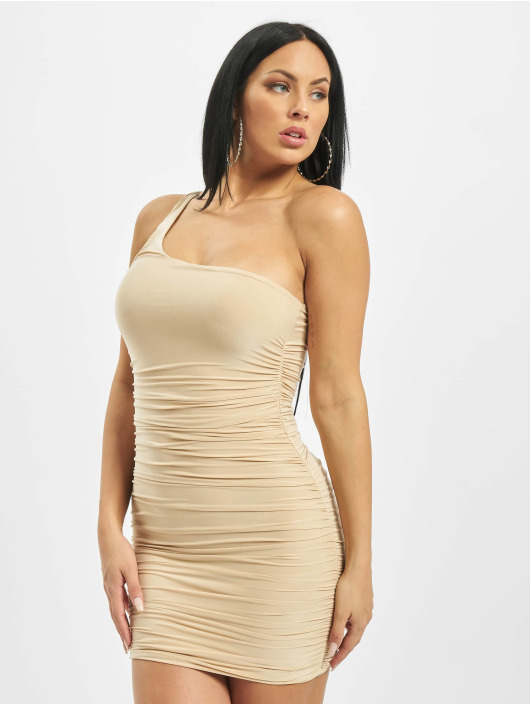 Missguided Dress One Shoulder Slinky Ruched Mini beige