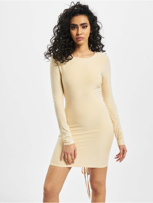 Missguided Dress Long Sleeve Ruched Bum beige