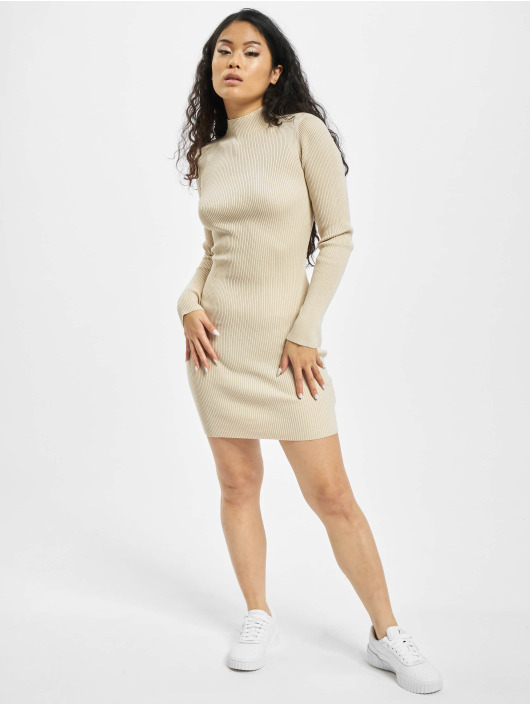 Missguided Dress High Neck Knitted Min beige