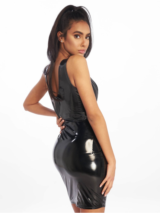 Missguided Dress Vinyl Mini black
