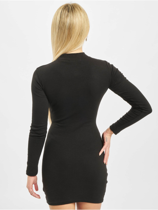 Missguided Dress Ribbed Popper Detail Mini black