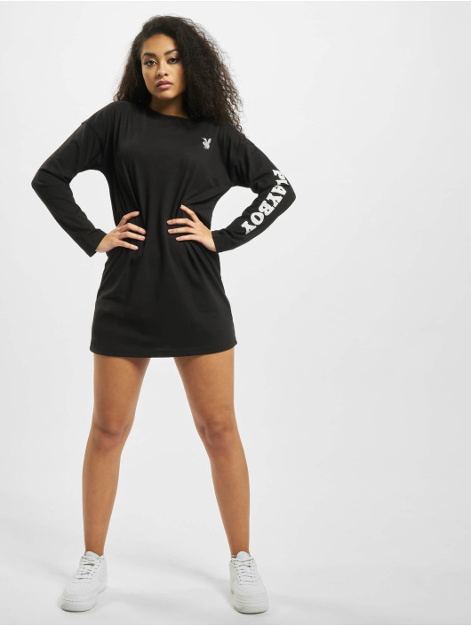 Missguided Dress Playboy Diamante Back Longsleeve T-Shirt black