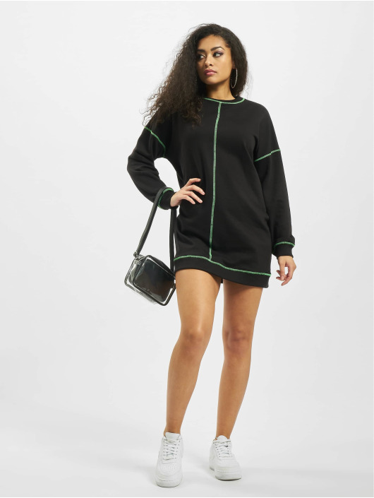 Missguided Dress Neon Contrast Stitch Longsleeve black