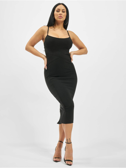 Missguided Dress Ribbed X Front Cami Bandage Midaxi black