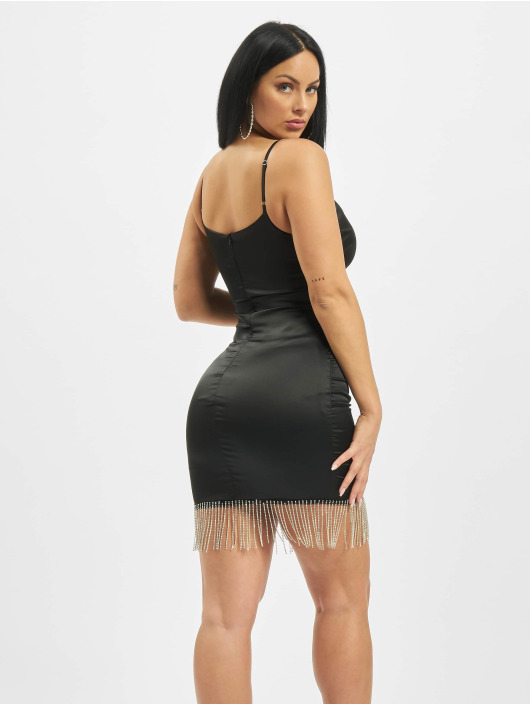 Missguided Dress Diamante Trim Stretch Satin Mini black