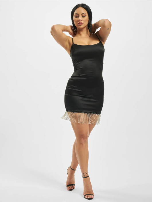 Missguided Dress Diamante Trim Stretch Satin Mini black