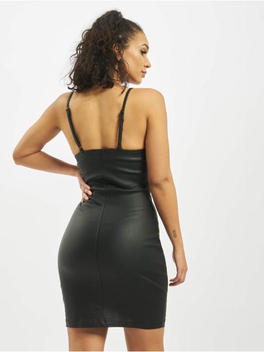 Missguided Dress Coated Zip Through Denim Cami black