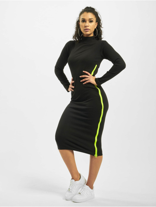 Missguided Dress Rib Highneck Longsleeve Chunky Contrast Zip black